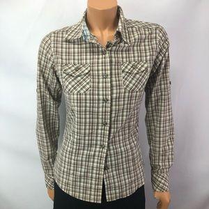 TheNorthFace plaid button shirt poly cotton Sz XS